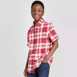 Cat & Jack Red/White Boys Short Sleeve Button-Down